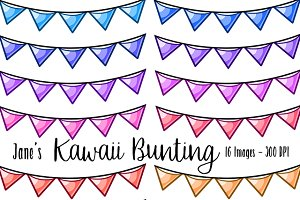 Kawaii Bunting Clipart