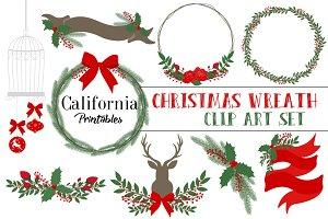 Christmas Wreath Clip Art Set