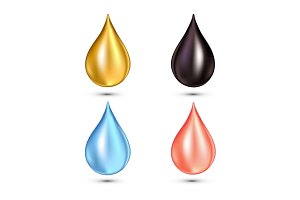 Set of drops of different color