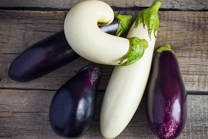 Rural composition of white and purple eggplant