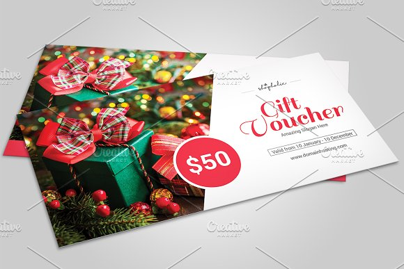 Christmas Gift Voucher templateV06 Stationery Templates on – Christmas Voucher Template