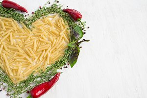 Pasta, basil, spices - Italian Cuisine. Healthy food, diet