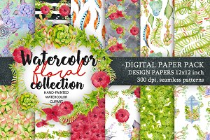 Watercolor Digital floral Pattern