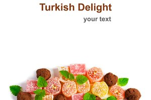 Turkish delight. Isolated on white, space for text
