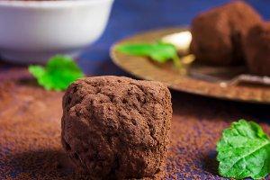 Turkish sweets cezerye cocoa, selective focus