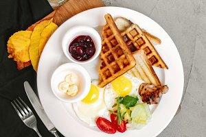 English breakfast with waffle