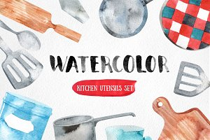 watercolor kitchen utensils set
