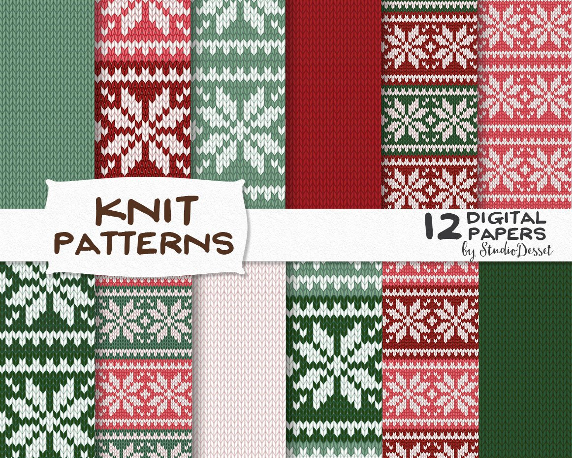 Ugly Christmas Sweater Patterns ~ Textures ~ Creative Market