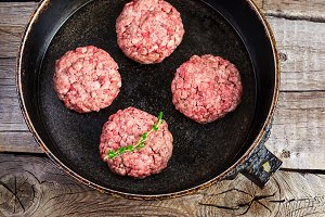raw burgers from organic beef in a frying pan