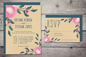 Boho Wedding Invitation & RSVP