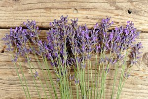 Lavender lying on an old table