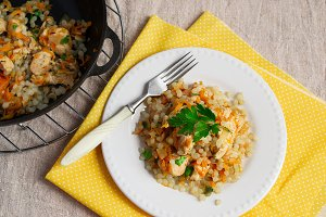 Shirataki Rice with chicken and carrots