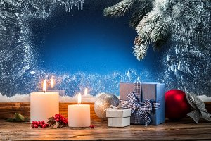 Gift boxes, candle lights