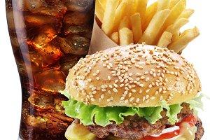 Hamburger, potato fries, cola