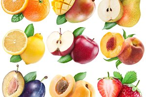 Fruits set with clipping path