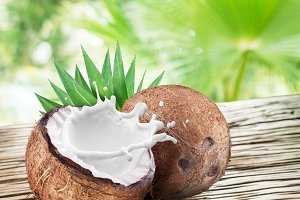 Coconut with milk splash