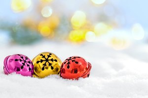 Christmas jingle bells in the snow