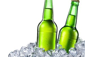 Beer bottles on white background.