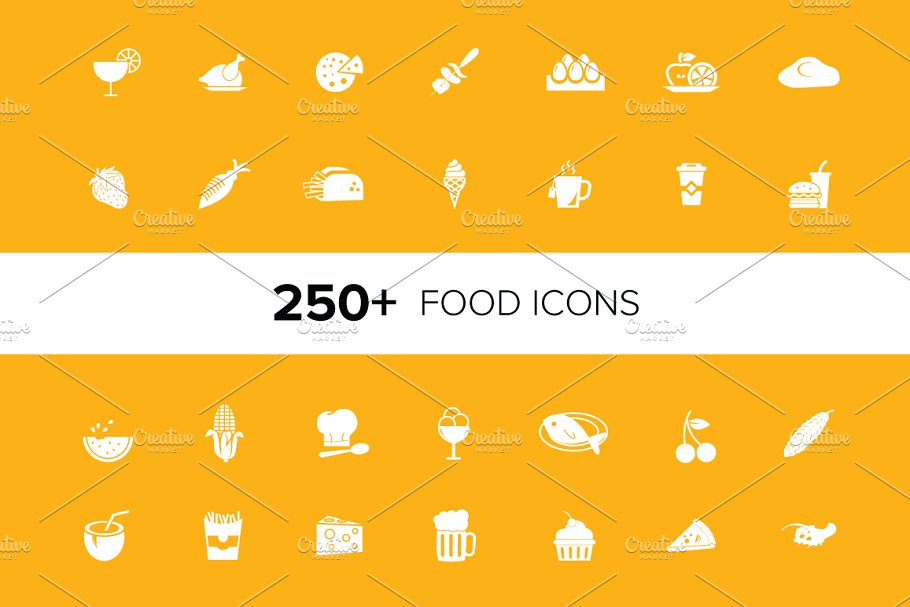 250+ Food Vector Icons Pack