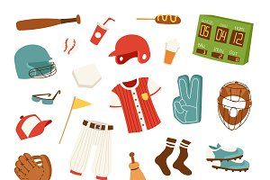 Cartoon baseball icons vector