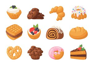 Cookie cakes isolated vector