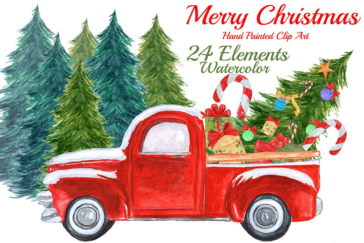 Watercolor Christmas truck clipart ~ Illustrations ...