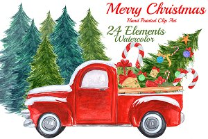 Watercolor Christmas truck clipart