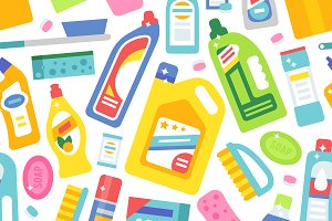 Cleaning tools vector pattern