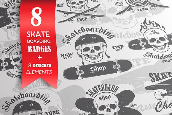 Set of 8 skateboarding emblems.