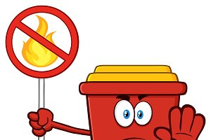 Angry Red Recycle Bin Character