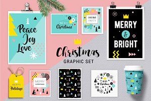 Geometric Christmas graphic set