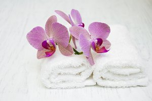 Orchids and towels
