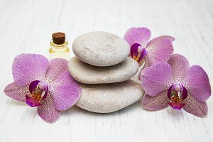 Orchids and massage stones