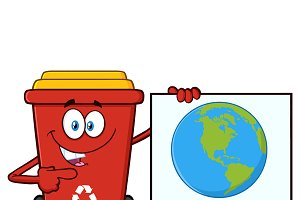 Red Recycle Bin Mascot Character
