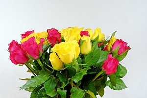 Bouquet of yellow and pink rose