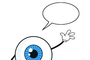 Blue Eyeball Guy With Speech Bubble