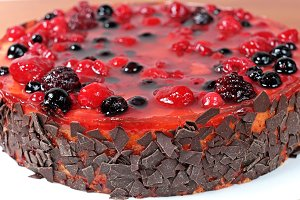 Fruit jelly cake with raspberries