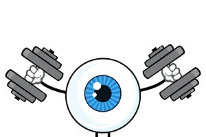 Blue Eyeball Guy With Dumbbells