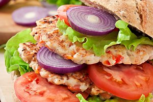 Chicken burgers grilled
