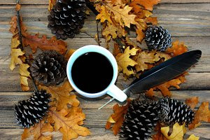 Cup of Coffee in autumn scene