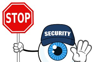 Blue Eyeball Guy Holding A Stop Sign