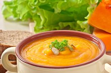 Delicious cream of pumpkin soup