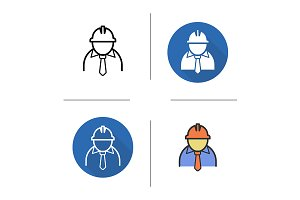 Engineer. 4 icons. Vector