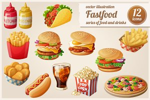 Cartoon fast food vector icons set