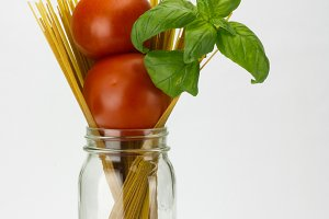 Tomatoes basil and pasta