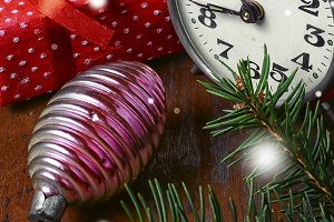 Clock and Christmas decorations