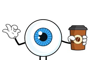 Blue Eyeball Guy Mascot Character