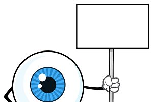 Eyeball Guy Holding Up A Blank Sign