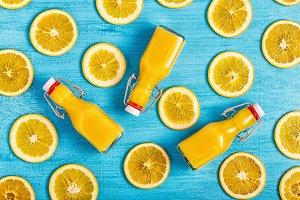 Fresh ripe oranges and juice