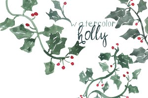 Watercolor Holly Leaves
